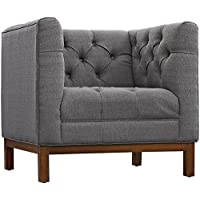 Modway EEI-1801-DOR Panache Upholstered Fabric Modern Tufted Accent Arm Lounge Chair Gray