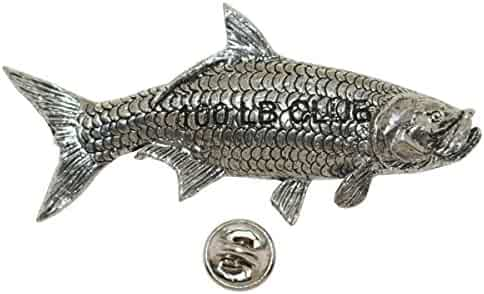 Halibut 100Lb Pewter Lapel Pin Fishing Trophy Jewelry P356