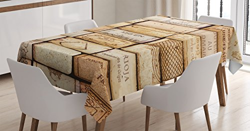 Ambesonne Winery Decor Tablecloth by, Different Wine Corks Arranged in a Line Collections French Aged Fine Wine Art, Dining Room Kitchen Rectangular Table Cover, 60 X 90 ()