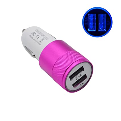 DEESEE(TM) New?New 2-Port USB Universal Car Charger Compatible with iPhone6/6s/7 iPod/Ipad Samsung (Hot Pink)