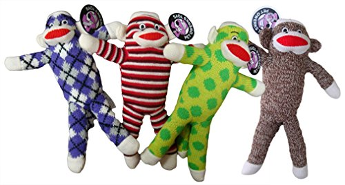 Pet Qwerks Sock Monkey, Assorted (Monkey Sock Toy)