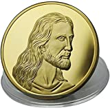 Moneta Gesù Cristo l'ultima cena di Leonardo da Vinci - placcato in oro 24 carati 99,9% - dono cristiano perfetto - dono religioso o regalo di Natale - 28 grammi - 4,0 cm monete - Gratis l'astuccio e un borsellino di velluto - spedito da Amazon