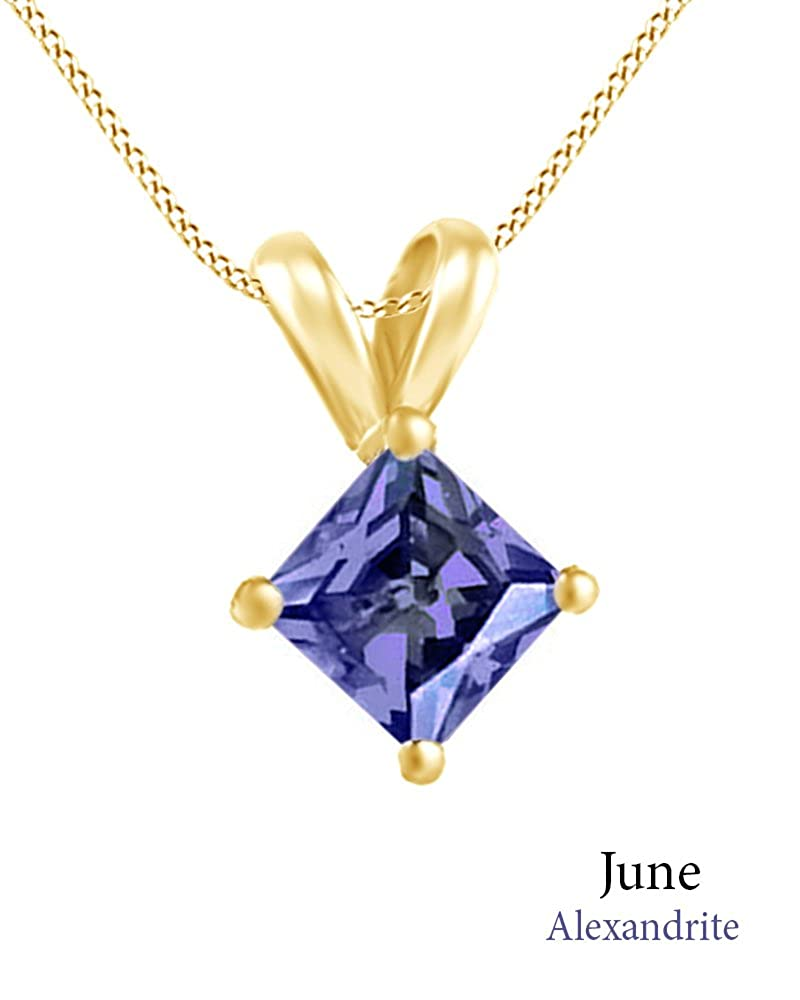 4 cttw Jewel Zone US AFFY Womens Classic Simulated Gemstone Princess Shape Pendant Necklace in 10k Solid Yellow Gold