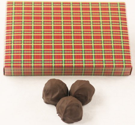 Dark Chocolate Fudge Cake (Scott's Cakes Dark Chocolate Peanut Butter Fudge Truffles in a 1 Pound Christmas Plaid Box)