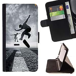 Devil Case- Estilo PU billetera de cuero del soporte del tir¨®n [solapa de cierre] Cubierta FOR LG G3 LG-F400 D802 D855 D857 D858 - Skateboard HipPop Man Funny