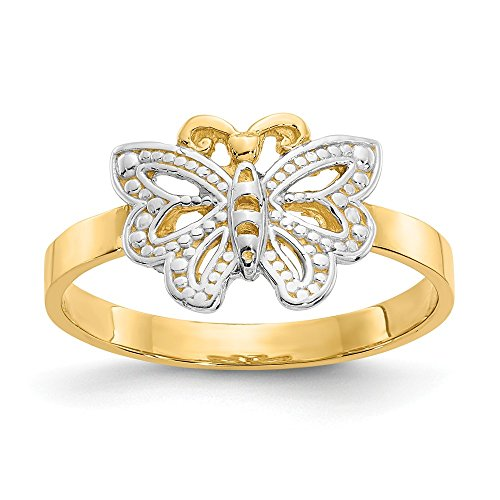 14k Yellow Gold Butterfly Band Ring Size 6.00 Fine Jewelry Gifts For Women For Her