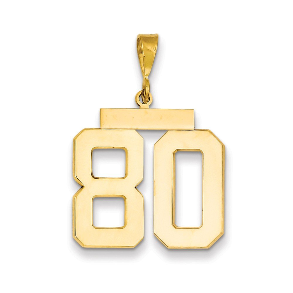 14K Yellow Gold Large Polished Number 80 Charm