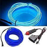 HomDSim 118inch 300cm Auto Car Interior Decor LED Neon Light Lamp Glow EL Wire String Strip 12V (118inch/300cm, blue)