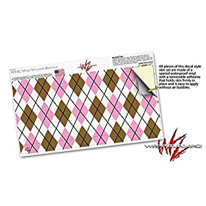 Skin Decal Wrap for RTIC Water Bottle 17oz Argyle Pink and Brown (BOTTLE NOT INCLUDED) by WraptorSkinz