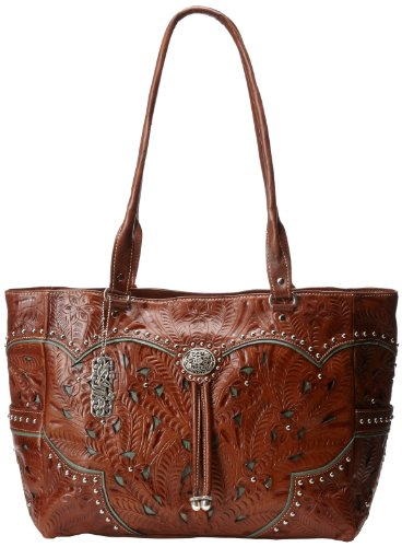 American West Hand-Tooled Leather Bag - Tan/Turquoise - O...