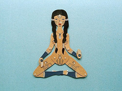 Ishtar Goddess, tattooed woman articulated paper doll, hand painted tribal paper puppet with movable parts by Mooncoocoo - Paper Dolls by Maria Dubrovskaya