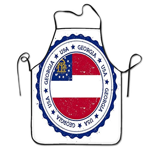 - Funny Personality Apron georgia flag badge georgia flag badge grunge rubber stamp georgia flag vintage travel stamp circular text stars usa Chef Kitchen Aprons 20.4 28.3 inch