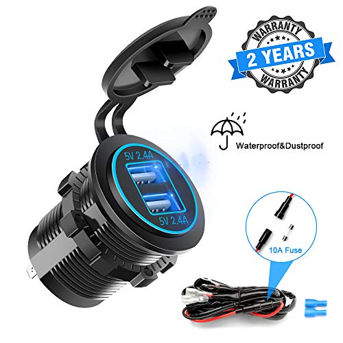 Opluz Dual USB Fast Charger Socket, Waterproof Power Outlet 4.8A with LED Voltmeter+Wire Build in 10A Fuse DIY Kit for 12V/24V Marine Boat Golf Cart Truck Motorcycle More, Blue LED Display