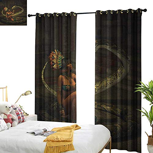 WinfreyDecor Thermal Curtains Fantasy Mystery Dark Skin Girl with Headdress Eye to Eye with Huge Snake Privacy Protection W108 x L96 Green Brown Emerald Cinnamon