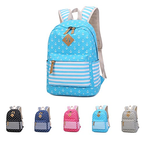 Queenie - Cotton Canvas School Backpack Casual Daypack Shoulder Bag for Teens Girls Boys (8833 Sky Blue) by Queenie (Image #3)