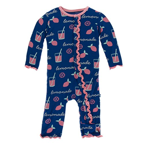 (Kickee Pants Little Girls Print Muffin Ruffle Coverall With Snaps - Pink Lemonade, 18-24 Months)