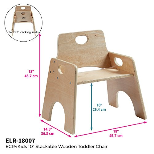 "ECR4Kids 10"" Stackable Wooden Chair for Toddlers - Sturdy Hardwood Seat for Daycare/Preschool/Home Furniture -�Natural Finish (2-Pack)"