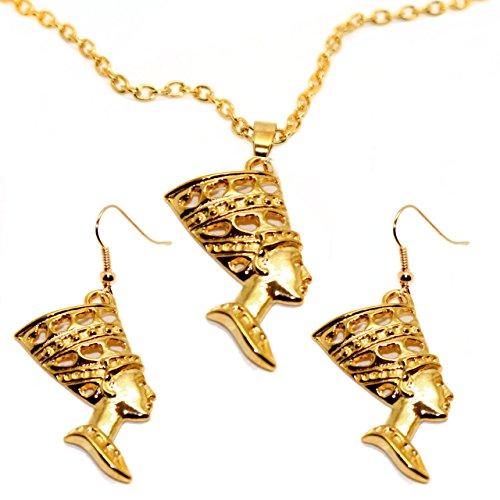 Nefertiti Headdress (Golden Egyptian Nefertiti Necklace and Drop Earring Set)