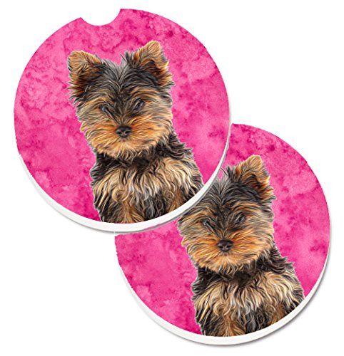 Caroline's Treasures Pink Yorkie Puppy/Yorkshire Terrier Set of 2 Cup Holder Car Coasters KJ1230PKCARC, 2.56, - Coaster Terrier Yorkshire