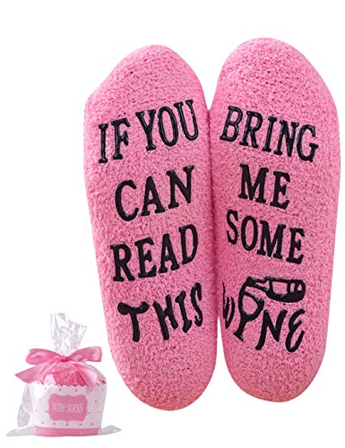 Wine Coffee Fuzzy Socks For Women Wine Gift Funny Novelty IF YOU CAN READ THIS Socks (Wine-pink)