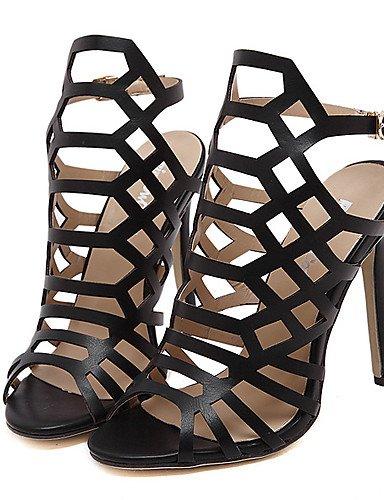 LFNLYX Zapatos de mujer-Tacón Stiletto-Tacones / Plataforma / Punta Abierta-Sandalias-Vestido / Fiesta y Noche-Semicuero-Negro / Almendra almond
