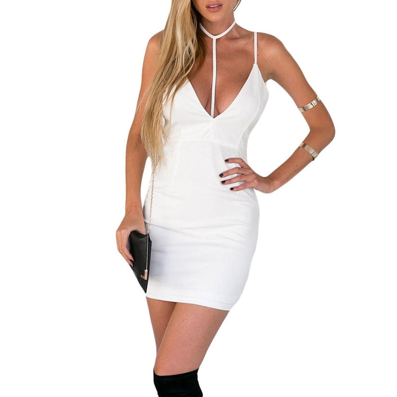 MAX Sonne Women's Spaghetti Strap bodycon Midi Wrap Club Dresses