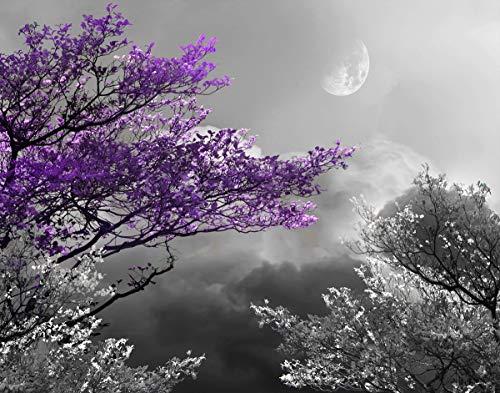 - Black White Purple Wall Art For Living Room, Bedroom, Tree Moon Modern Wall Art, littlepiecreations USA Handmade Original Artwork Matted Picture