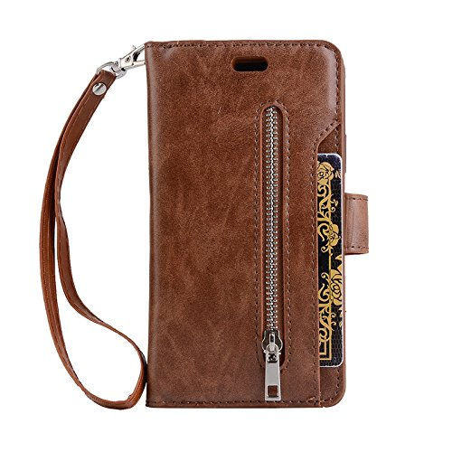 FuriGer Case for Samsung Galaxy S9 Plus, Premium PU Leather Wallet Case, Zipper Wallet Case,Magnetic Closure, Detachable Magnetic Case with Card Slots for Samsung Galaxy S9 Plus - Brown by FuriGer