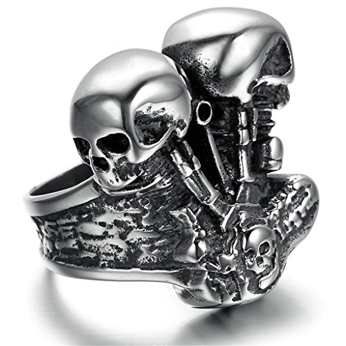 [Stainless Steel Ring for Men, Two Dead Head Ring Gothic Black Band Silver Band 2626MM Size 13 Epinki] (Female Ringleader Costume)