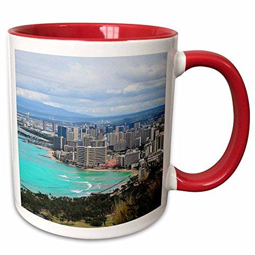 3dRose Cities Of The World - Waikiki Beach In Honolulu, Hawaii - 11oz Two-Tone Red Mug - In Waikiki Outlets