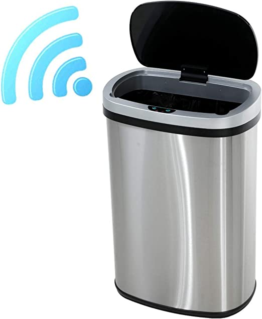 13 Gallon Touch Free Sensor Automatic Touchless Trash Can Garbage Kitchen Black