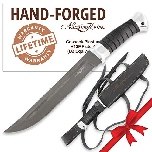 Cheap Fixed Blade Knife – Outdoor Knife – D2 Steel – Hornbeam – PLASTUN – Leather Sheath