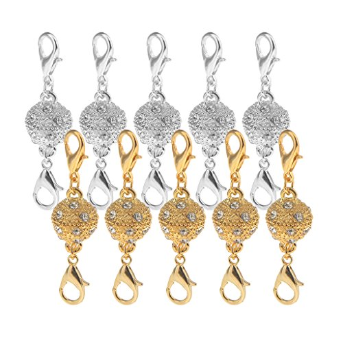 Homyl 10 Pieces Crystal Rhinestone Pave Ball Brass Rhinestone Lobster Magnetic Clasps Hook Jewelry DIY Making Findings 43x10cm EASY CLASP JEWELRY CONNECTOR (Pave Clasp Ball)