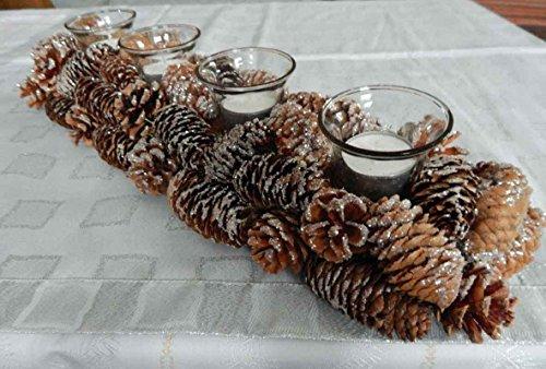 Windlicht Nathalie mit vier Gläsern Adventskranz Länge 49 cm Adventsgesteck