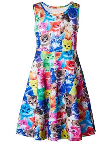 RAISEVERN Little Girl Summer Fashion Cat Print Dress, Round Neck Sleeveless Cute Casual Floral Sundress for Girls (4-13 Years) -