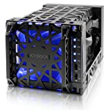ICY DOCK 4 Bay 3.5'' HDD USB 3.0 / eSATA Drive Enclosure with 120mm Front LED Fan in 1x 5.25'' Bay- Black Vortex MB174U3S-4SB