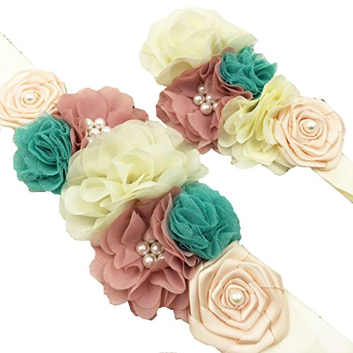 Floral Fall Gender Reveal Maternity Sash Flower Girl Belt Matching Baby Headband SH-08 (Pink/Blue)
