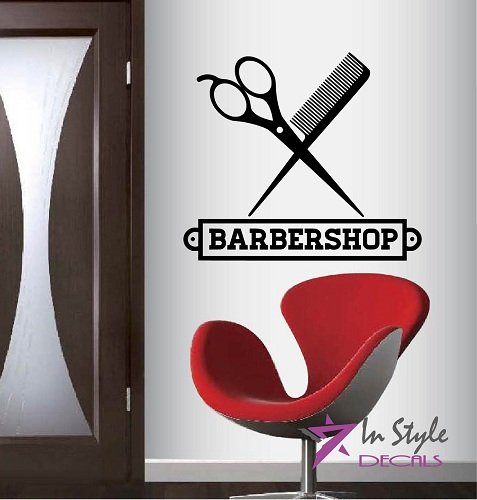 Wall Vinyl Decal Home Decor Art Sticker Barber Shop Scissors Comb Hairstyle Haircut Room Removable Stylish Mural Unique Design -