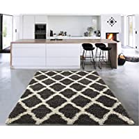 Sweet Home Stores Cozy Shag Collection Charcoal Moroccan Trellis Design Shag Rug Contemporary Living & Bedroom Soft Shaggy Area Rug,   Grey & Cream,  94 L x 118 W