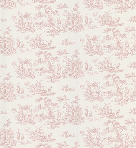 Pink Toile Wallpaper - Brewster 403-49254 Maxine Toile Wallpaper, Pink