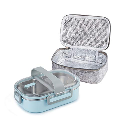 Lille Home 22oz Stainless Steel Leakproof 2-Compartment Lunch Box, Insulated Bento Box, Portion Control Food Container with Insulated Lunch Bag, Adults, Men, Women (Blue) (Best Container To Keep Food Hot)