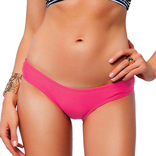 - Sexy Brazilian Bikini Bottom for women V Cheeky T-Back Booty Solid Classic Ladies Swimsuit Pink S