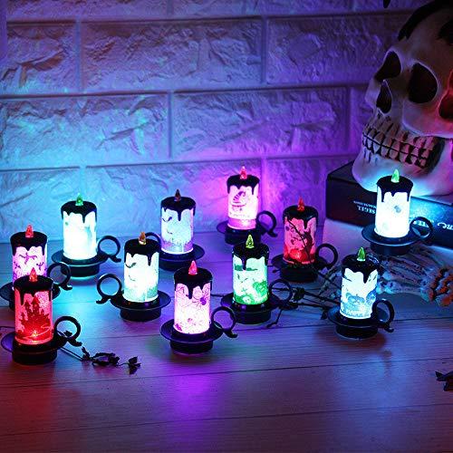 Fullfun 12 pcs Candle Lamp LED Tea Light Candles Halloween Decoration -