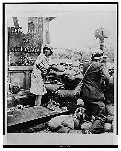 HistoricalFindings Photo: Paris battle scene,World War II,WWII,September 1944,France,woman,sandbags (Wwii Sandbag)