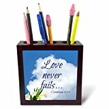 3dRose Alexis Design - Quotes Religion - Bible Quotes - Love Never Fails. White Cloud, Tulips - 5 inch Tile Pen Holder (ph_280807_1)
