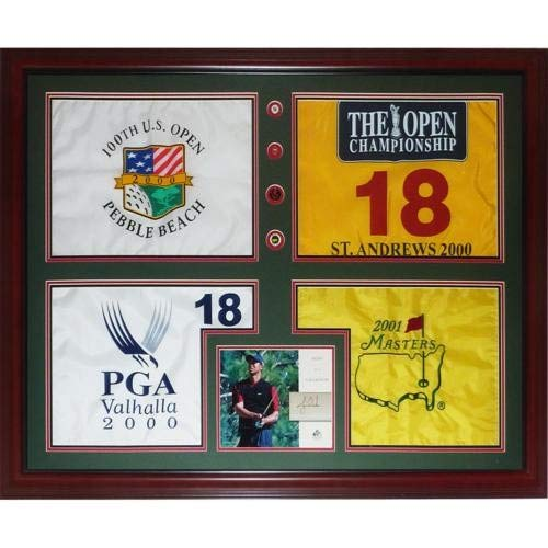 Tiger Woods Autographed Signed Auto Tiger Slam Deluxe Framed Piece 2000 US Open, British Open, PGA Championship, 2001 Masters - Certified Authentic