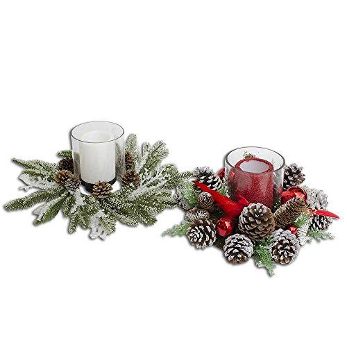 BestPysanky Set of 2 Flameless Candles in Acorn Christmas Centerpieces 15 Inches Diameter