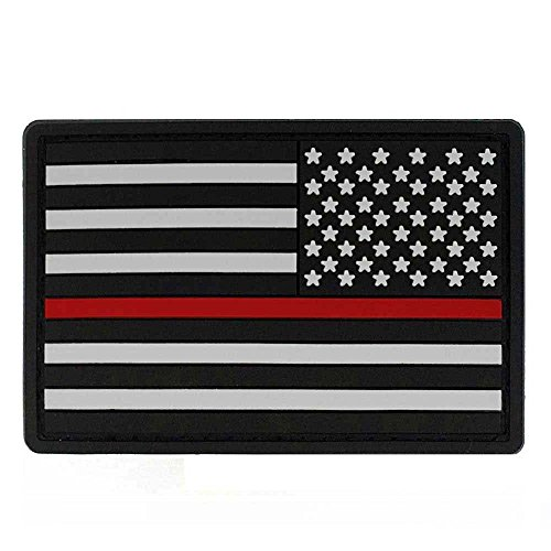 - Thin Red Line Reverse American Flag PVC Patch + Hook & Loop - USA Flag Patch United States of America Military Uniform Tactical Jacket Milsim Hats - Soft Rubber Emblem - Black, Grey & Red - 3