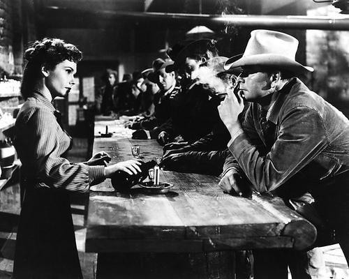 oster Felicia Farr pours drink for Glenn Ford in bar ()