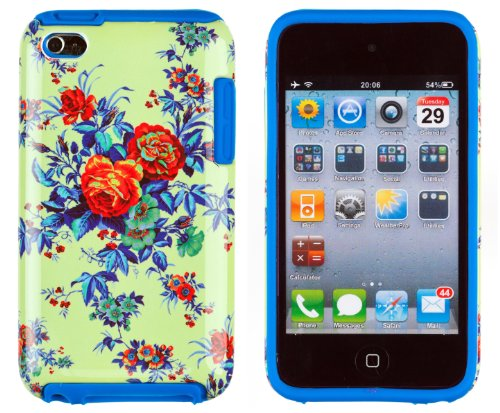DandyCase 2in1 Hybrid High Impact Hard Colorful Green Rose Flower Pattern + Blue Silicone Case Cover For Apple iPod Touch 4 (4th generation) + DandyCase Screen Cleaner